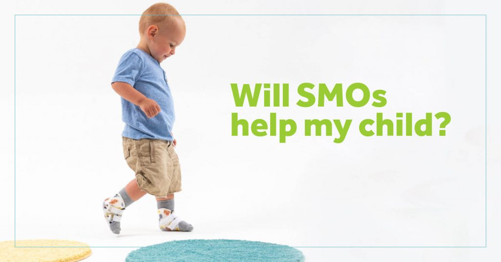 Child walking with SMO orthotics